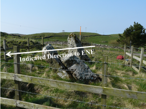 View to WSW but showing stones best and the indicated direction to the ENE